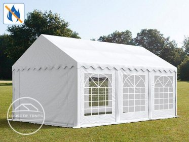 4x6m Marquee / Party Tent, PVC 500 g/m² fire resistant, white