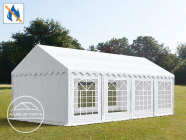 4x8m Marquee / Party Tent, PVC 500 g/m² fire resistant, white