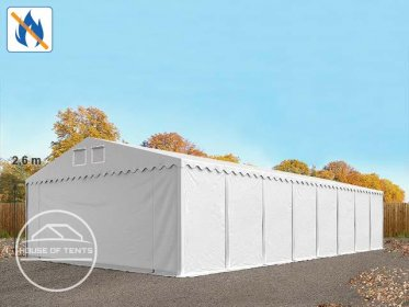 8x24m 2.6m Sides Storage Tent / Shelter w. ground frame, PVC 550 g/m² fire resistant