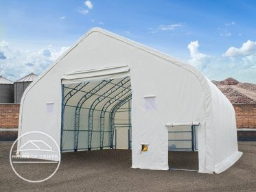12.2x12m 4.73x5.3m Drive Through Industrial Tent, PVC 720g/m² fire resistant, white