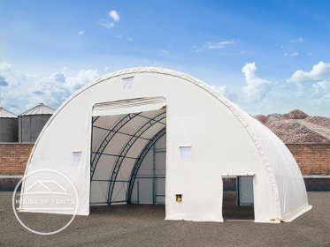 15,25x21m 4,73x5,3m Drive Through Arched Storage Tent / Hangar Silo Shelter, Double Truss, PVC 720 g/m² fire resistant, white