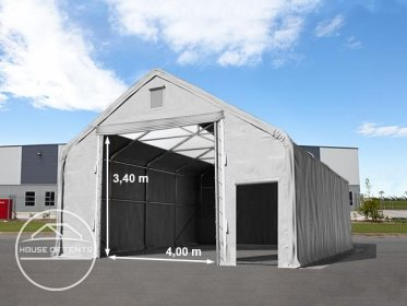 8x12m 4x3.4m Drive Through Industrial Tent with skylights, PVC 720g/m² fire resistant