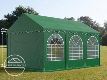 4x6m Marquee / Party Tent w. Groundbar, PVC 550 g/m², dark green