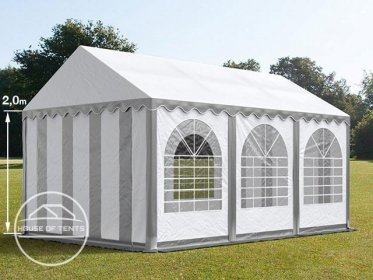 4x6m Marquee / Party Tent w. Groundbar, PVC 550 g/m², grey-white