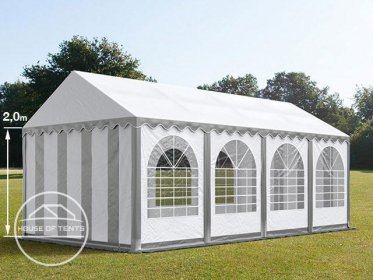 4x8m Marquee / Party Tent w. Groundbar, PVC 550 g/m², grey-white