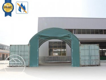 Front wall for container roofing 6m width with easy-up entrance, PVC 720g / m² fireproof, dark green