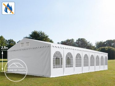 7x26m 2.6m Sides Marquee / Party Tent w. Groundbar, PVC 550 g/m² fire resistant, white