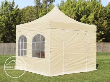 3x3m PES PopUp Gazebo / Canopy PREMIUM Steel incl. Sidewalls, with Windows, cream