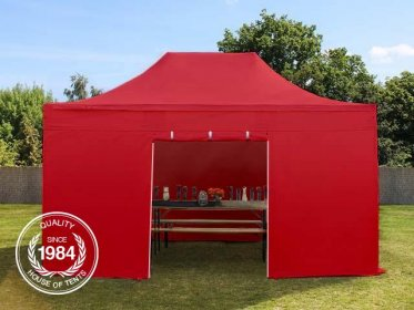 3x4.5m PES PopUp Gazebo / Canopy PREMIUM Steel incl. Sidewalls, red