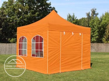 3x3m PES PopUp Gazebo / Canopy PREMIUM Steel incl. Sidewalls, with Windows, orange