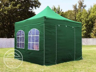 3x3m PES PopUp Gazebo / Canopy PREMIUM Steel incl. Sidewalls, with Windows, dark green