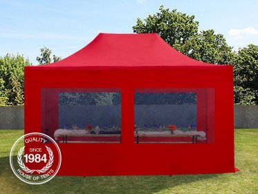 3x4,5m PES PopUp Gazebo / Canopy PREMIUM Steel incl. Sidewalls, with Panorama Window, red
