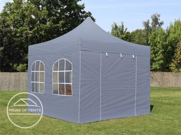 3x3m PES PopUp Gazebo / Canopy PREMIUM Steel incl. Sidewalls, with Windows, dark grey