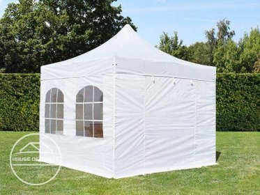 3x3m PES PopUp Gazebo PREMIUM Aluminium 36 mm, incl. Sidewalls, with Windows, white