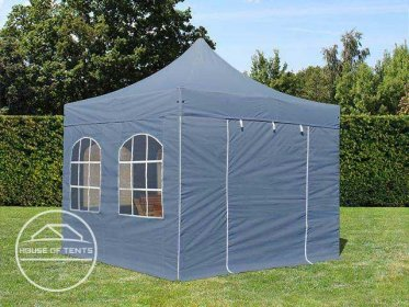 3x3m PES PopUp Gazebo PREMIUM Aluminium 36 mm, incl. Sidewalls, with Windows, dark grey