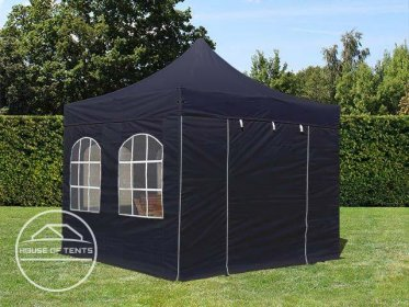 3x3m PES PopUp Gazebo PREMIUM Aluminium 36 mm, incl. Sidewalls, with Windows, black