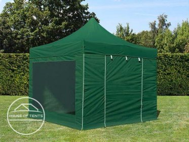 3x3m PES PopUp Gazebo PREMIUM Aluminium 36 mm, incl. Sidewalls, with Panorama Window, dark green