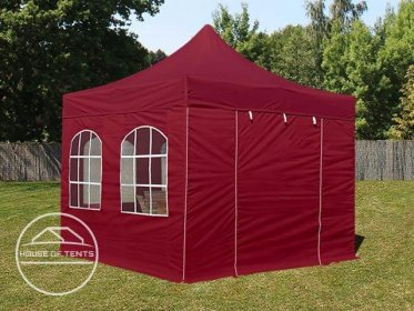 3x3m PES PopUp Gazebo / Canopy PREMIUM Steel incl. Sidewalls, with Windows, red