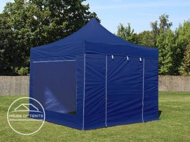 3x3m PES PopUp Gazebo / Canopy PREMIUM Steel incl. Sidewalls, with Panorama Window, blue