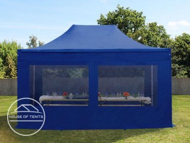 3x4,5m PES PopUp Gazebo / Canopy PREMIUM Steel incl. Sidewalls, with Panorama Window, blue