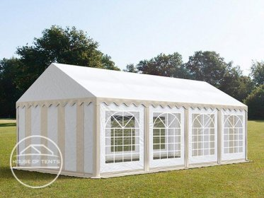 4x8m Marquee / Party Tent, PVC 500 g/m², beige-white