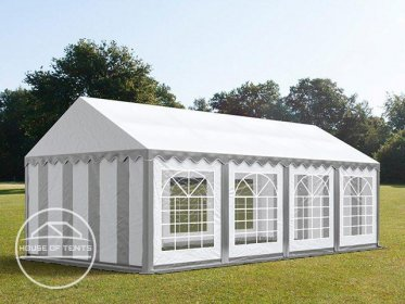 4x8m Marquee / Party Tent, PVC 500 g/m², grey-white