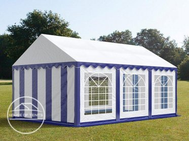 4x6m Marquee / Party Tent, PVC 500 g/m², blue-white