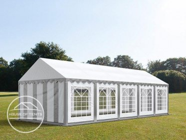 4x10m Marquee / Party Tent, PVC 500 g/m², grey-white
