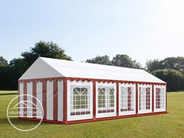 4x10m Marquee / Party Tent, PVC 500 g/m², red-white