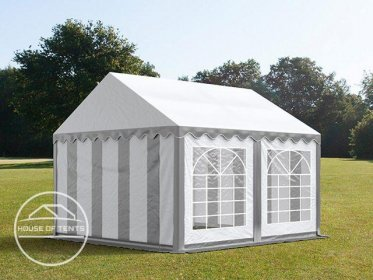 4x4m Marquee / Party Tent, PVC 500 g/m², grey-white