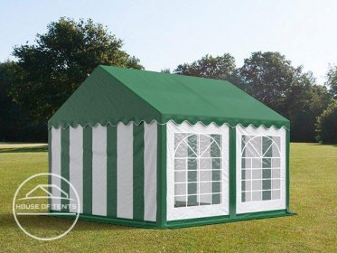 4x4m Marquee / Party Tent, PVC 500 g/m², green-white