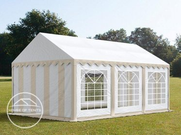 3x6m Marquee / Party Tent, PVC 500 g/m², beige-white