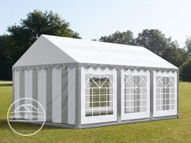 3x6m Marquee / Party Tent, PVC 500 g/m², grey-white