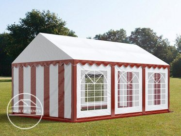 3x6m Marquee / Party Tent, PVC 500 g/m², red-white