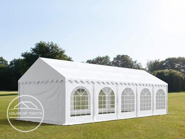 4x10m Marquee / Party Tent w. Groundbar, PVC 500 g/m², white