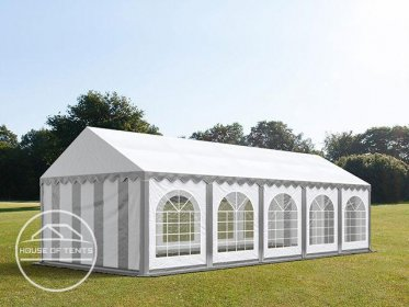 4x10m Marquee / Party Tent w. Groundbar, PVC 500 g/m², grey-white