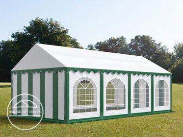 4x8m Marquee / Party Tent w. Groundbar, PVC 500 g/m², green-white