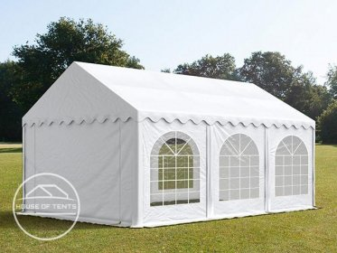 4x6m Marquee / Party Tent w. Groundbar, PVC 500 g/m², white