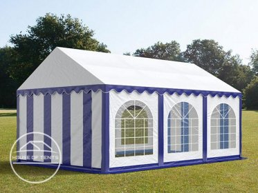 4x6m Marquee / Party Tent w. Groundbar, PVC 500 g/m², blue-white
