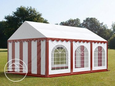 4x6m Marquee / Party Tent w. Groundbar, PVC 500 g/m², red-white