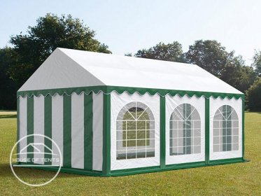 4x6m Marquee / Party Tent w. Groundbar, PVC 500 g/m², green-white