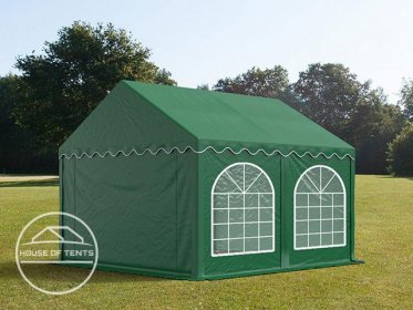 3x4m Marquee / Party Tent w. Groundbar, PVC 500 g/m², dark green