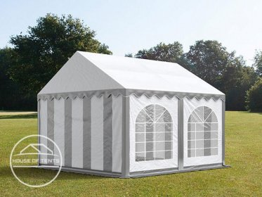3x4m Marquee / Party Tent w. Groundbar, PVC 500 g/m², grey-white
