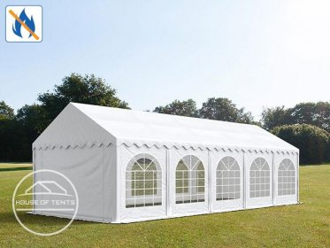 4x10m Marquee / Party Tent w. ground frame, PVC 500 g/m² fire resistant, white