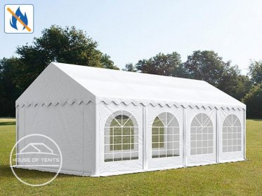 4x8m Marquee / Party Tent w. ground frame, PVC 500 g/m² fire resistant, white