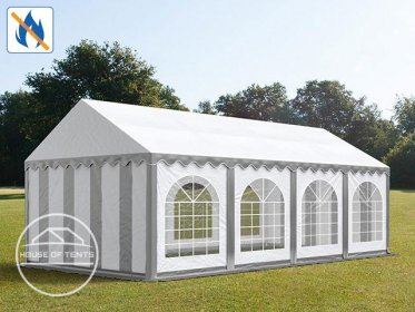 4x8m Marquee / Party Tent w. ground frame, PVC 500 g/m² fire resistant, grey-white