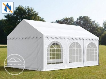 3x6m Marquee / Party Tent w. ground frame, PVC 500 g/m² fire resistant, white