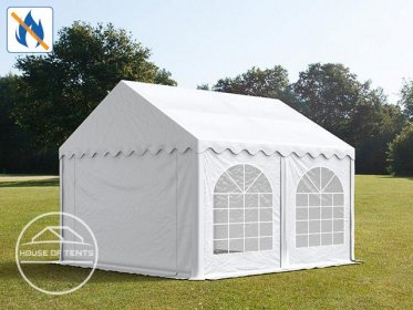 3x4m Marquee / Party Tent w. ground frame, PVC 500 g/m² fire resistant, white