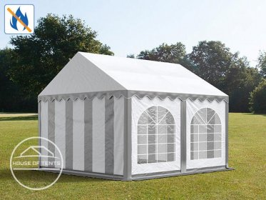 3x4m Marquee / Party Tent w. ground frame, PVC 500 g/m² fire resistant, grey-white