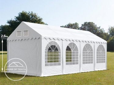 4x8m 2.6m Sides Marquee / Party Tent w. Groundbar, PVC 550 g/m², white